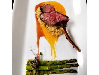 lamb, risotto, asparagus. Johnson